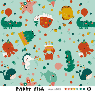 Lillestoff - Party Fish JERSEY €21,30 p/m GOTS