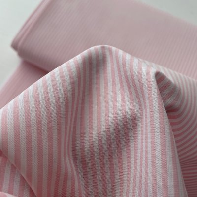 Ecological Textiles - Pink/white Fine stripes poplin €22,50 GOTS