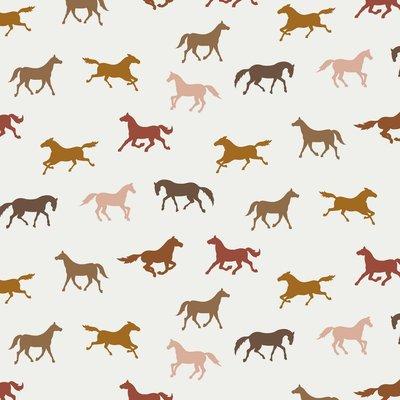 COUPON120CM Verhees GOTS  - HORSES WHITE €13,90 p/m jersey (GOTS)