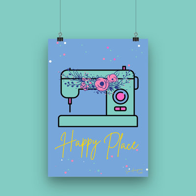 Sew Anonymous -  Poster A4 Happy Place €16,50 p/s