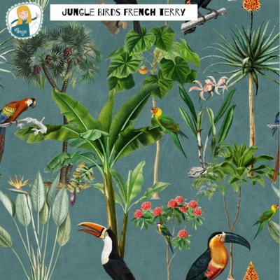 Ansje Handmade - JUNGLE BIRDS BLUE FRENCH TERRY €24,50 p/m