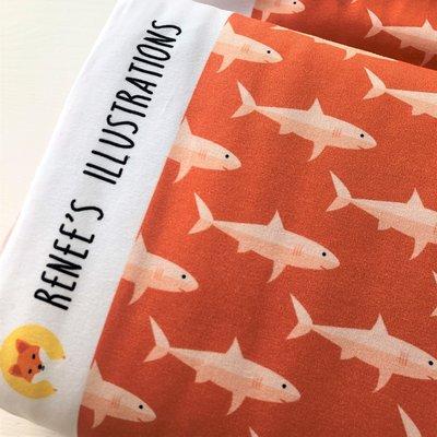 COUPON 75 CM Ansje Handmade - Sharks jersey - Reneesillustrations €23,50 p/m