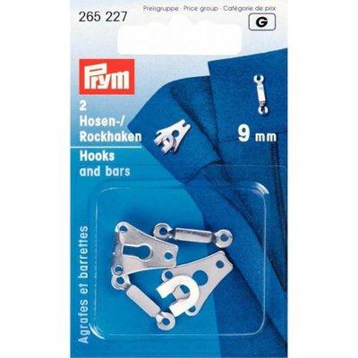 Prym Broek- en rokhaken met staven ZILVER 9mm -  €
