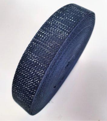 Tassenband NAVY BLUE - SILVER LUREX 30mm €4 p/m