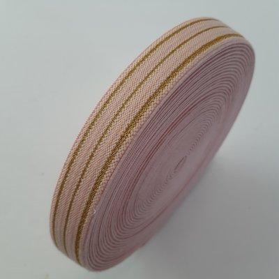 Sierelastiek - SALMON-GOLD STRIPES 20mm €3 p/m