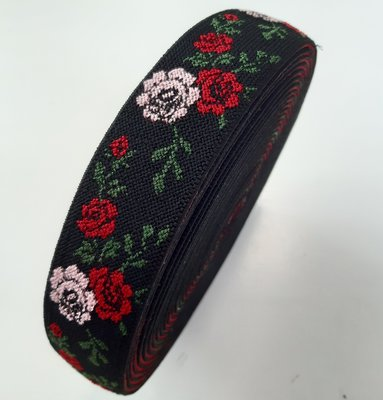 Sierelastiek - Jacquard black roses 40mm €4,80 p/m