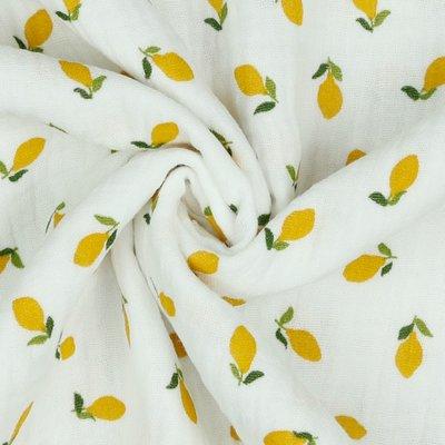 Verhees GOTS  - Lemons white - Double Gauze € 11,90 p/m (GOTS)