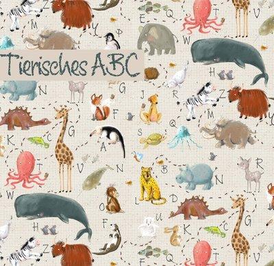 COUPON 115 CM Lillestoff - Animals ABC SUMMERSWEAT €21,80 p/m GOTS