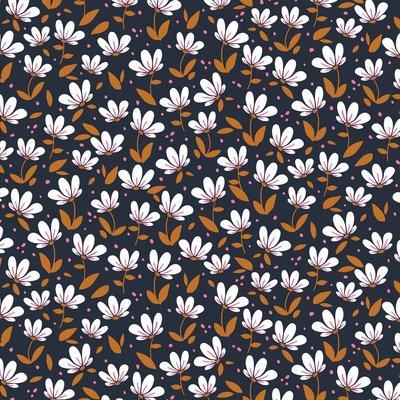 COUPON 55cm Verhees Dark navy magnolia SOFT SWEAT - €16 p/m GOTS