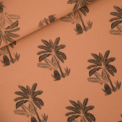 COUPON 50 CM See you at six - Palm Trees Pecan Bruin FRENCH TERRY €22 p/m