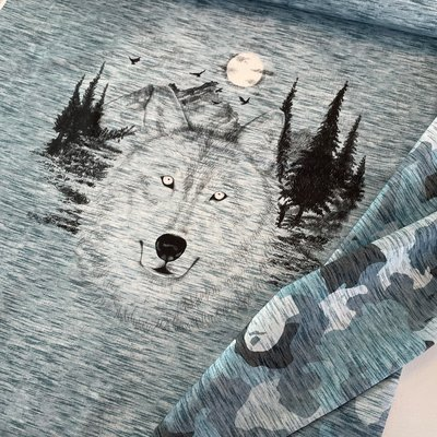 Hilco - Camou Wolf BLAUW PANEEL FRENCH TERRY €12,90 p/s