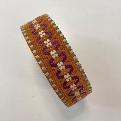 Tassenband Indian bruin, violet, groen 40mm €5,00 p/m