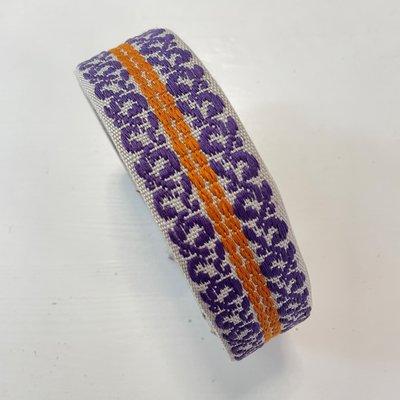 Tassenband Lichtgrijs, paars, oranje  40mm €5,00 p/m