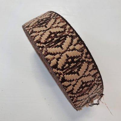 Tassenband bruin, beige, brons  40mm €5,00 p/m