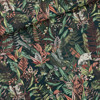 COUPON 45cm See you at six - Autumn Joy Forest Green KATOEN GARBARDINE TWILL  €16 p/m