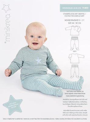 Minikrea Broekje met voetjes en babyshirt 0-2 jaar 11409