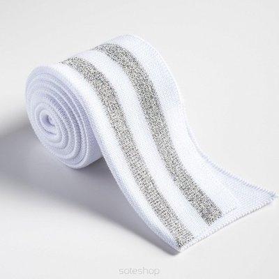 Gevouwen boordstof wit/zilver 4,75 p/s