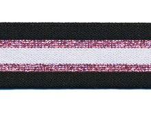 Glitter zwart-roze elastiek 30 mm
