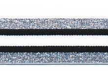 Glitter zilver-zwart-wit elastiek 30 mm