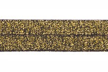 Zwartgoud glitter - Elastisch Biais