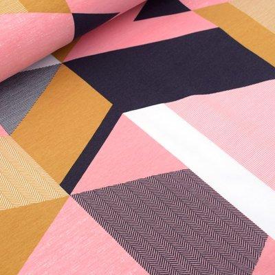 Coupon 90cm Tidoeblomma - Triangular Roze (GOTS summersweat) €21,90 p/m