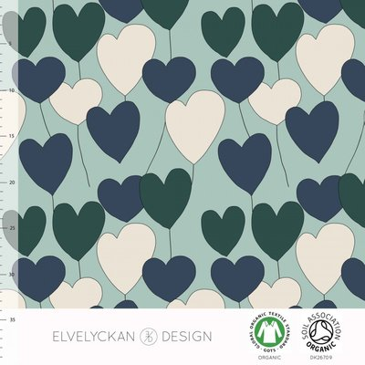 Elvelyckan  - Happy heart blue €24 p/m jersey (GOTS)