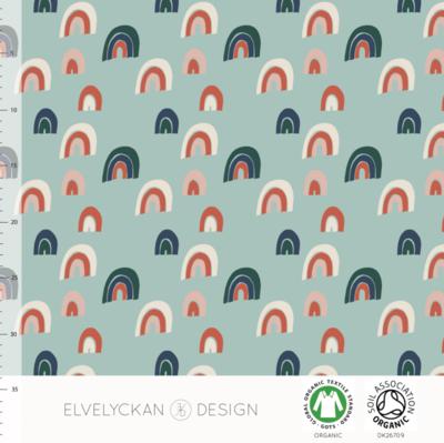 COUPON 40cm Elvelyckan  - Rainbow minty €24 p/m jersey (GOTS)