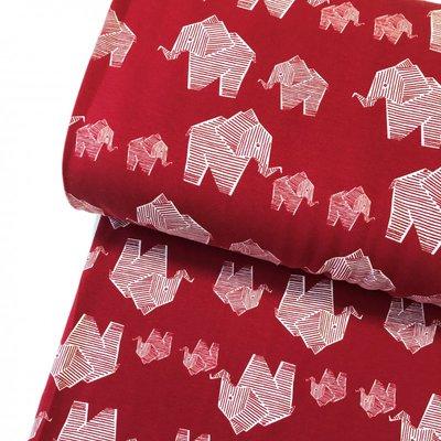 COUPON 80cm Elephant cherry red €21,80 p/m GOTS jersey