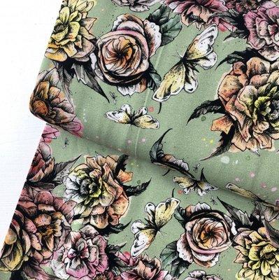 Laatste meter! Green flowers - oekotex jersey  €16 p/m