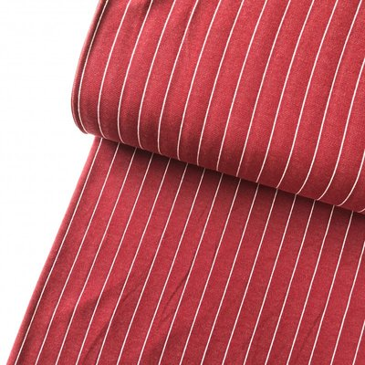 COUPON 80cm Polytex Organics - Rumba Red striped (GOTS) €16,50