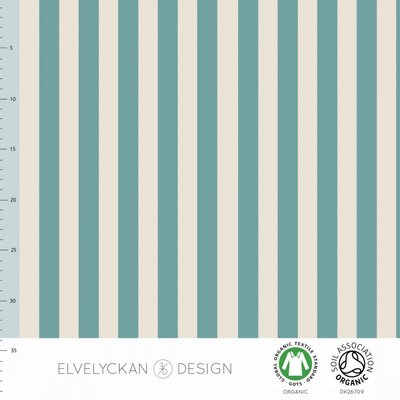 COUPON 40cm Elvelyckan  - Aqua Blue stripes €23 p/m jersey (GOTS)