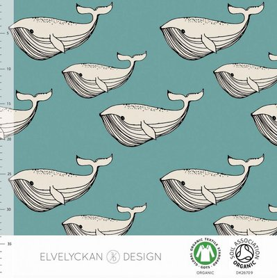 COUPON 90cm Elvelyckan  - Blue whale €24 p/m jersey (GOTS)