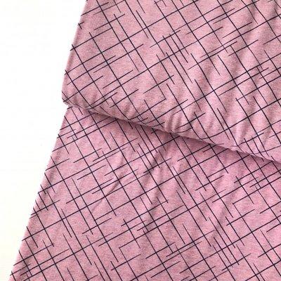 Lillestoff -  Pink cross lines €20 p/m jersey GOTS