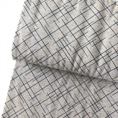 Laatste meter! Lillestoff -  Grey cross lines €20 p/m jersey GOTS