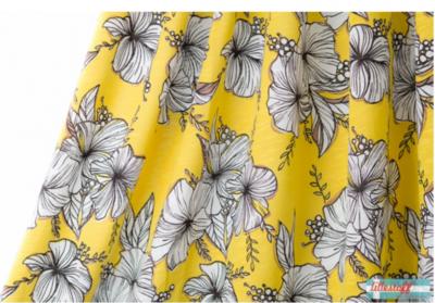 Lillestoff -  Yellow Flowers slubjersey €20 p/m GOTS