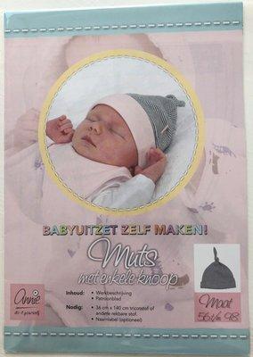 Annie - Naaipatroon babymutsje met knoop 56-98 €1,50 p/s