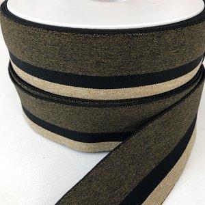 Gestreept elastiek 40mm zwart/goudkleur