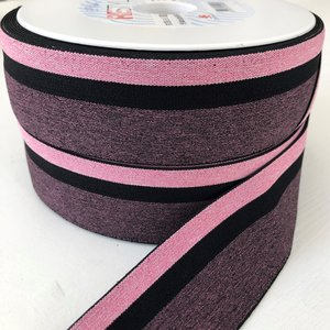 Gestreept elastiek 40mm zwart/roze