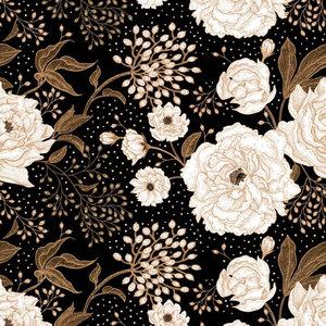 Roses zwart €24 p/m jersey (GOTS)