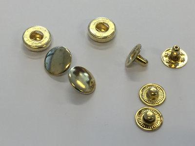 Drukknoopjes 12mm goudkleur (set 10 stuks)