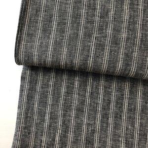 Laatste Meter! Linnen - Grey.black striped €15,90