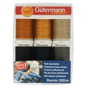Gutermann Denim garen 100m set 6 kleuren €12,95