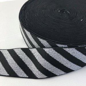 Zwart zilver streep elastiek 40mm