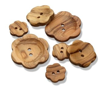 Olive Wood - Bloem 15mm houten knoop €0,80 p/s