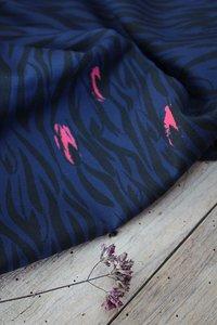 Eglantine & Zoé Zebra bleu Viscose Crepe €22,50 p/m