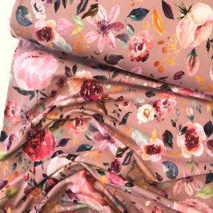 Verhees GOTS  - Flowers old rose €12,90 p/m jersey (GOTS)