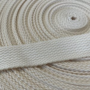 Ecru/wit cotton-look tassenband 25mm €1,30 p/m