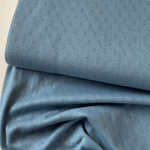 COUPON 75cm Hilco - Pointelle blue €14,50 p/m OEKOTEX