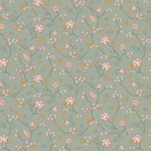 Verhees GOTS - ROMANTIC FLOWERS mint  €8,90 p/m katoen (GOTS)