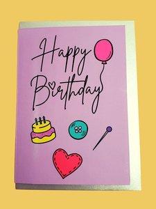 Sew Anonymous -  Kaart Happy Birthday  €3,50 p/s